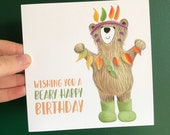 BIRTHDAY BEAR Greeting card Illustration Art Cards blank Catherine Redgate pun teddy leaf autumn indian headdress leafy wellies fun cute ted