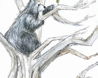 Reaching High Bear Greeting Illustration Card blank Catherine Redgate leaf ambition adventure tree positivity mental health climb high