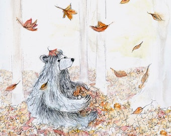 Natural Leaf Bear Greeting Illustration Art Card - blank inside- by Catherine Redgate forest autumn sympathy get well soon cute whimsical