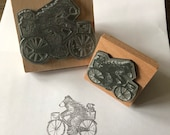 """BEAR BIKE and DOG - 2"""" or 3"""" wooden rubber stamper- by Catherine Redgate cute quirky whimsical hand drawn illustration doggie puppy shaggy"""