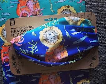 DIVER BEAR headwear outdoor RECYCLED Plastic head biking walking hike Catherine Redgate scarf diving swim ocean octopus blue fish sea dive