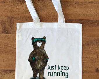 RUNNING BEAR TOTE bag shop shopper shoulder Scottish Catherine redgate illustration reuse positive exercise bag gift fitness teddy cute gym