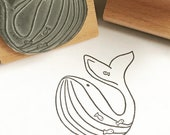 """Worry WHALE - 2"""" wooden rubber stamper- by Catherine Redgate - Scotland - Scottish - fish - sea - ocean - mammal - blue"""