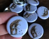 Windswept SQUIRREL 32mm button badge Catherine Redgate illustration funny nuts acorn tail windy bad day cute autumn woodland creature forest