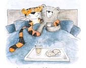 I love you beary much Valentine's Day Greeting Card - blank inside - couple anniversary illustration bear tiger cute whimsical bed breakfast