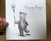 HAPPY DAYS BEAR Greeting Card - blank inside Catherine Redgate balloon fish funny cute letter friend sun positive positivity message teddy