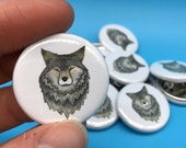 Wolf head - 32mm button badge - by Catherine Redgate