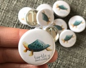 TURTLEY AWESOME 32mm button badge - illustrated cute  Catherine Redgate happy positive illustration turtle tortoise mental health positivity