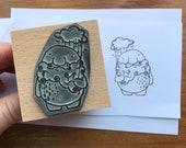 "STORM CLOUD SPIRIT - wooden rubber stamper - 2""- by Catherine Redgate - sprite creature rain wellies beard stamping scrapbooking craft"