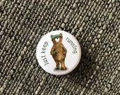 RUNNING BEAR 32mm button badge - illustrated cute Catherine Redgate positivity motivate motivation runner run fitness sport happy teddy fun