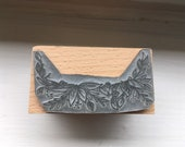 """Floral botanical leafy border stamp - 2"""" or 3"""" wooden rubber stamper- by Catherine Redgate - scrapbooking craft Leaf Flower"""