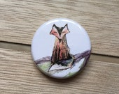 Handsome Cherry Fox - 32mm button badge- by Catherine Redgate