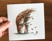 Windswept SQUIRREL nuts acorn Greeting Illustration Art Card - blank inside Catherine Redgate notecard letter scottish scotland rodent cute