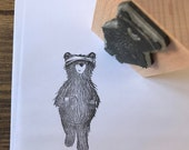 """RUNNING gym BEAR 3"""" wooden rubber stamper Catherine Redgate scrapbooking bujo craft stamp stamping exercise fitness fit teddy workout cute"""