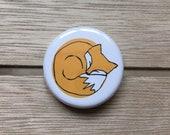 Sleeping Orange FOX - 32mm button badge- by Catherine Redgate