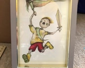 ADVENTURE BOY original framed illustration Catherine Redgate art drawing watercolour painting mixed media pirate child story character idea