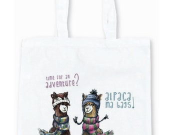 ALPACA LLAMA Adventure TOTE shoulder bag - shop shopper Scottish Catherine redgate illustration reuse positive farm travel fun ma bags hat