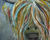 Gloomy Day CARD Highland Cow Scottish Coo blank inside Catherine Redgate - Greeting celebration scotland Heelan coo quirky whimsical painted