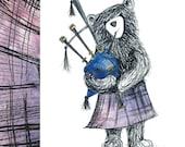 Scottish Bagpipe BEAR Greeting Card - blank inside- by Catherine Redgate - Scotland bagpipes music tourist friendly celebrate kilt tartan