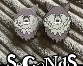 SECOND 2nd sale LONE WOLF hard enamel pin badge - by Catherine Redgate - journey travel companion mental health dog face head silver shiny
