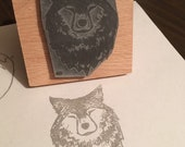 """Wolf head - 2"""" wooden rubber stamper- by Catherine Redgate"""