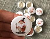 LOVE SPIRIT 32mm button badge - Valentine top hat gnome illustrated cute  Catherine Redgate gentleman beard gock rose flower guardian couple