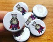 Super Hero BEAR - 32mm button badge - by Catherine Redgate superhero cape nerd geek collect pin cute positivity positive guardian illustrate