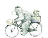 Bear & Dog adventure - Greeting Illustration Art Card - blank inside by Catherine Redgate Bike dog puppy cycle biking journey travel uni