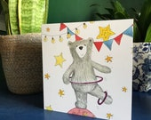 CIRCUS BEAR Greeting Card blank inside Catherine Redgate Scotland Scottish teddy pun funny jolly happy positive juggle perform drama actor