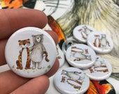 Bear and Tiger couple - 32mm button badge - valentine love - pin - friends - by Catherine Redgate