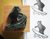 """Surfing BEAR - wooden rubber stamper - 2""""- by Catherine Redgate - hippy cool stamping scrapbooking surfer surf sea ocean waves"""