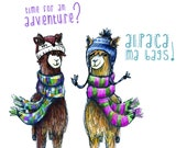 Alpaca My Bags journey - Greeting Illustration Art Card - blank inside by Catherine Redgate adventure travel cute couple love Llama funny