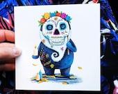 DAY of the DEAD spirit  Greeting Illustration Art Card blank inside Catherine Redgate gnome birthday halloween skull mexican muertos sugar