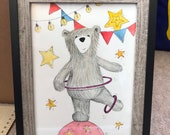 CIRCUS BEAR original framed illustration Catherine Redgate art drawing watercolour painting teddy performer dance juggle act drama cute draw