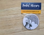 Umbrella Bear POCKET MIRROR gift- by Catherine Redgate