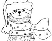 """XMAS SLOTH wooden rubber stamper 2"""" 3"""" Catherine Redgate Scottish animal Christmas hat Santa sloths scarf craft bujo stamp wrapping paper"""