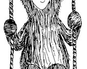 "Swinging BEAR wooden rubber stamper 3"" Catherine Redgate Scottish animal teddy stamp hippy swing positivity mental health happy affirmation"