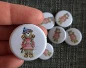 Hiker Bear 32mm button badge Catherine Redgate retro pin metal illustrated positivity walker walking walk hike journey adventure happy cute