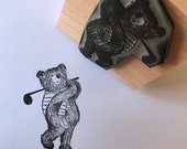 """GOLF BEAR - wooden rubber stamper - 2""""by Catherine Redgate sprite teddy wood gnome stamping scrapbooking craft fathers day golfing pun dad"""