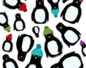 Penguin Parade Greeting Illustration Art Card - blank inside Catherine Redgate christmas xmas cute illustrated penguins bobble woolly hat