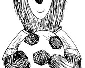 """FOOTBALL BEAR wooden rubber stamper 2"""" Catherine Redgate Scottish animal teddy stamp ball sport boy gift wrap wrapping craft foot cute fun"""