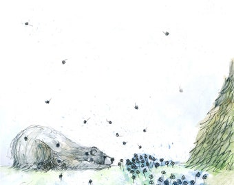 Forget Me Not Greeting Illustration Art Card blank inside Catherine Redgate forest tree flower BEAR cute whimsical sympathy get well soon