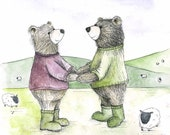 Country Couple Bear illustrated Greeting Card - blank inside Catherine Redgate farmer valentine's love farms wellies cute gender neutral
