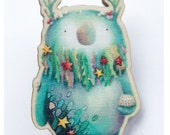 OCEAN Spirit WOODEN pin badge - by Catherine Redgate - Scottish eco creature sprite beard seaweed shell urchin sea water fish starfish