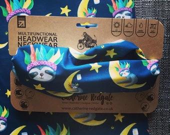 SLEEPY SLOTH headwear RECYCLED hairband head band biking walking hike Catherine Redgate face mask covering gift scarf magical star moon cute