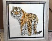 GRAND TIGER original framed illustration Catherine Redgate art drawing watercolour painting big cat animal detail gift roar stripe orange