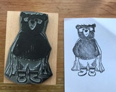 """SUPERHERO 2"""" 3"""" bear wooden stamper Catherine Redgate - stamp stationery large wrapping stationery super hero cape rescue letter craft mask"""