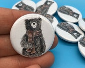 Wizard Bear - 32mm button badge - illustrated spells Harry potter wand magic comic con-  by Catherine Redgate