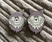 LONE WOLF hard enamel pin badge - by Catherine Redgate - journey travel companion mental health support adventure dog face head silver shiny