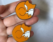 SLEEPING FOX hard enamel pin badge - by Catherine Redgate - me time sleepy cosy comfort winter woodland dog orange gold or dark silver
